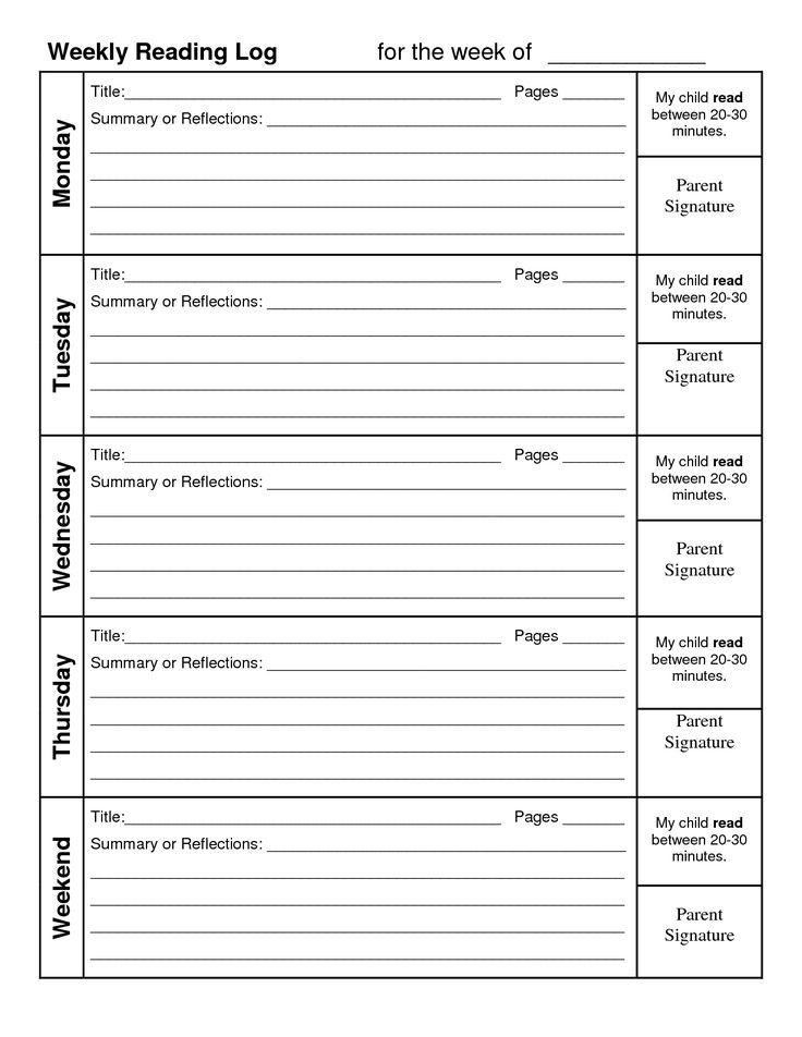 Printable Calendar Reading Logs In 2020   Weekly Reading Logs, Daily Reading Log, Reading Logs