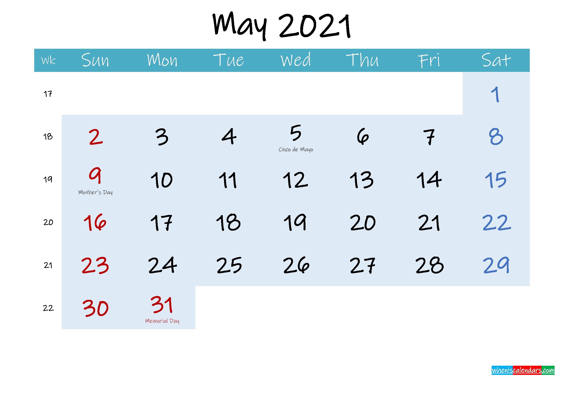 Printable May 2021 Calendar Word - Template No.ink21M233