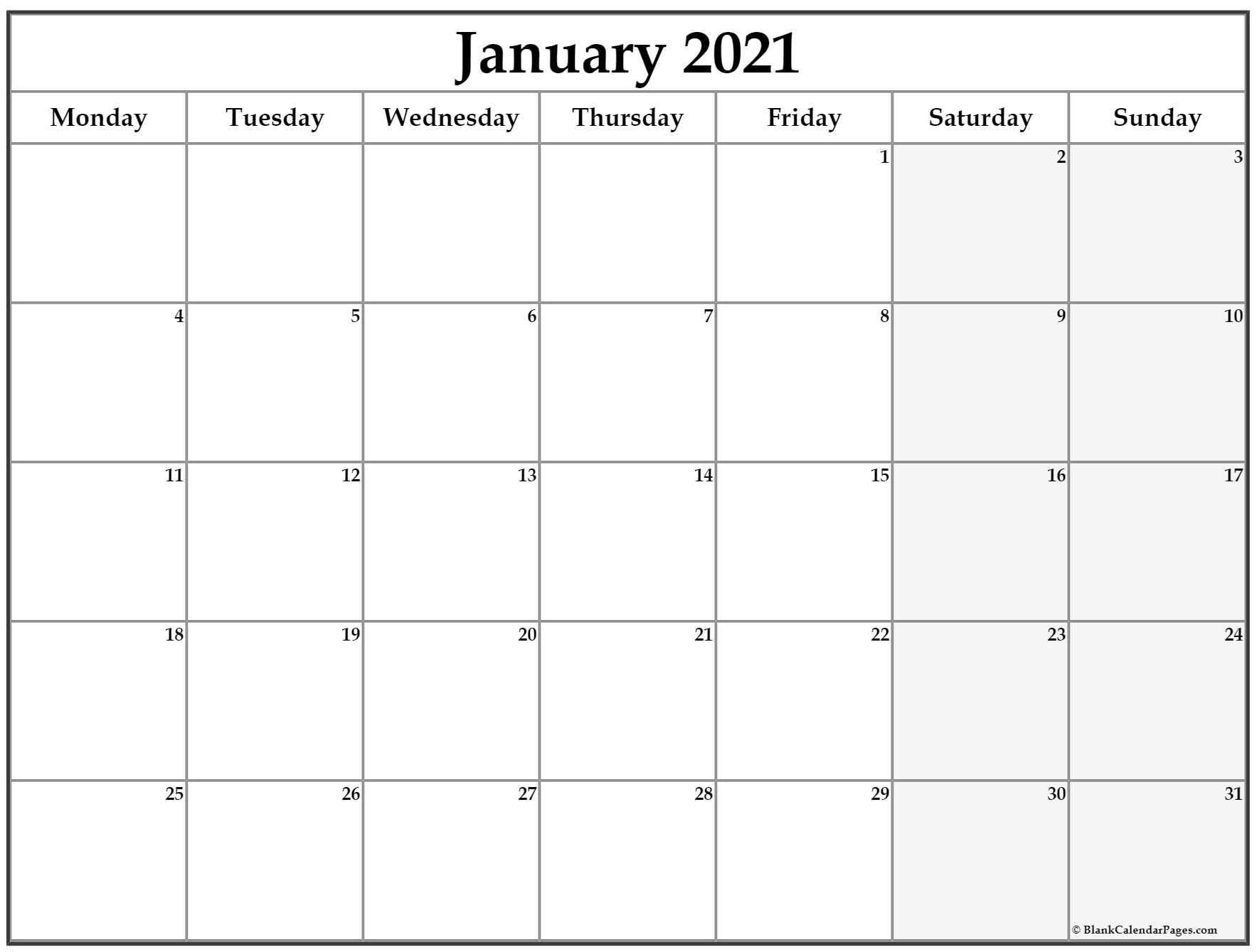 Printable Monthly Calendar 2021 Starting Monday | Free 2021 Printable Calendars