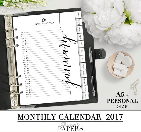 Printable Monthly Calendar For You Letter, A5 And Personal Planner_Perpetual Calendar_Calendar