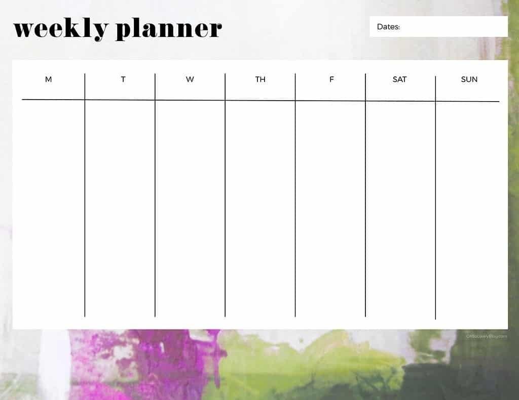 Printable One Week Calender :-Free Calendar Template