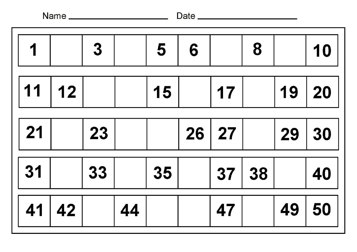 Printable Preschool Numbers 1 31 | Free Calendar Template Example
