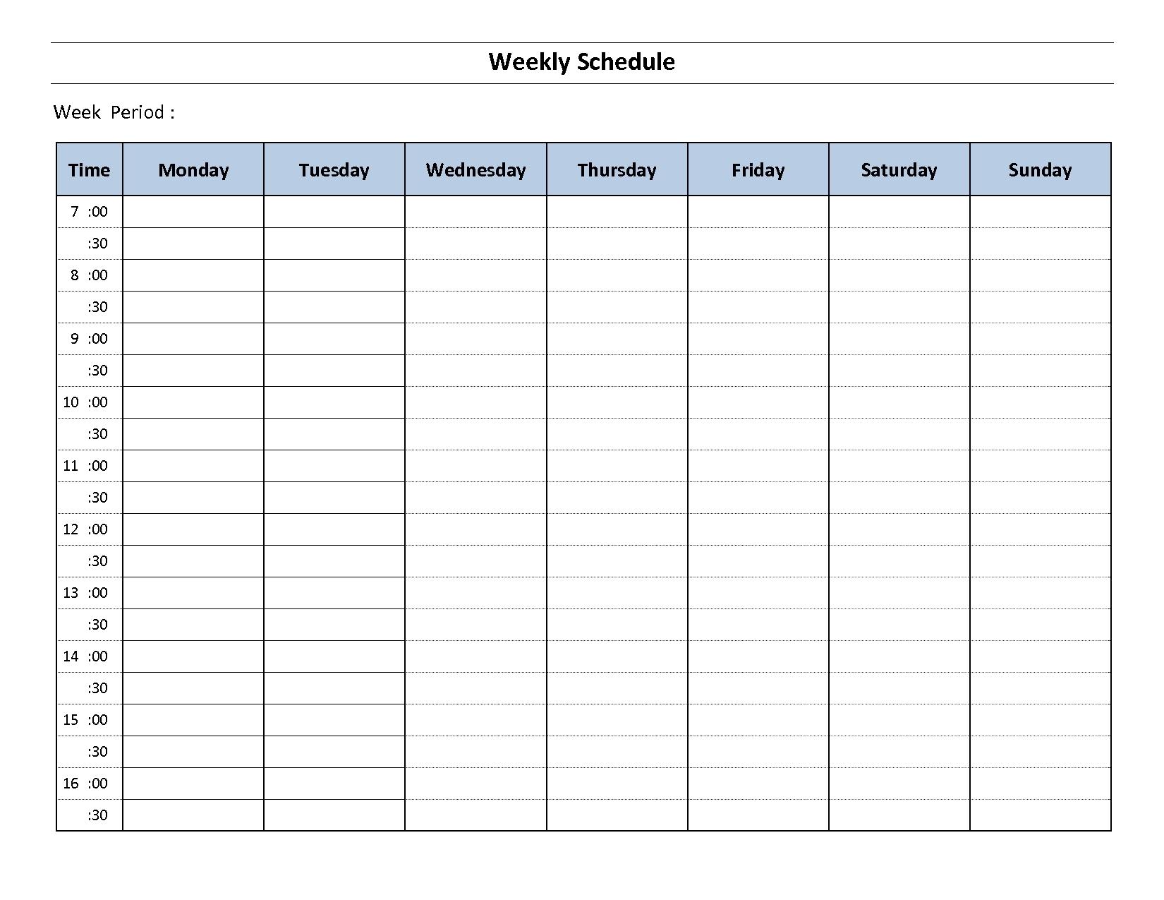 Printable Weekly Calendar Monday To Sunday - Template Calendar Design