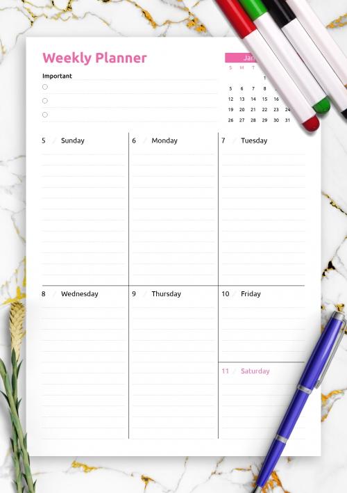 Printable Weekly Planner Templates - Download Pdf