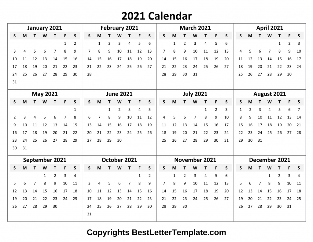 Printable Yearly 2021 Calendar Template In Pdf, Word & Excel