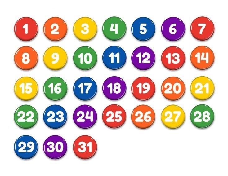 Rainbow Perpetual Calendar 1Numbers 1-31-Magnets-Days   Etsy   Calendar Numbers, Printable
