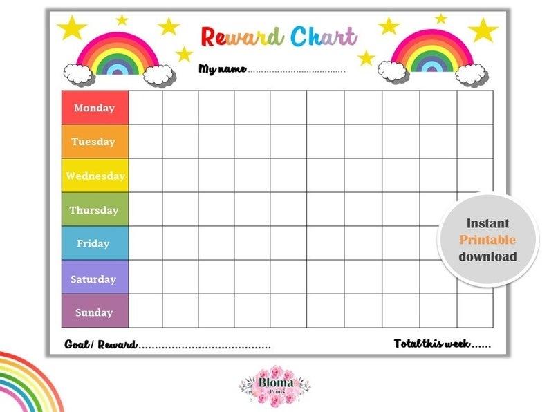 Rainbow Reward Chart Printable Children/Kids Reward Chart   Etsy