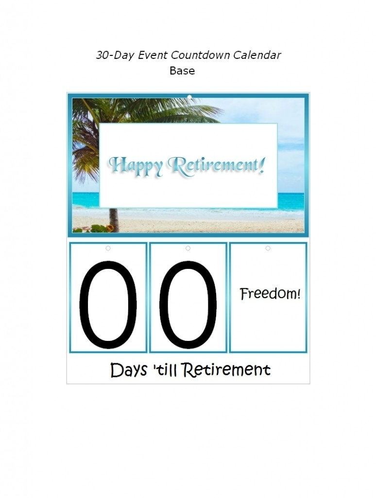 Retirement Countdown Calendar Printable   Qualads