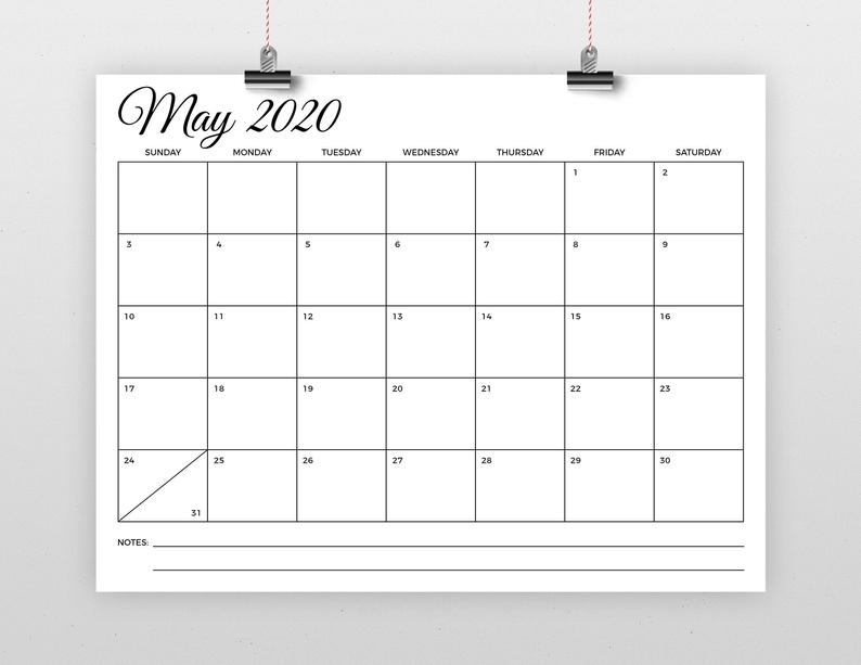 Sale 8.5 X 11 Inch 2020 Calendar Template Instant Download   Etsy