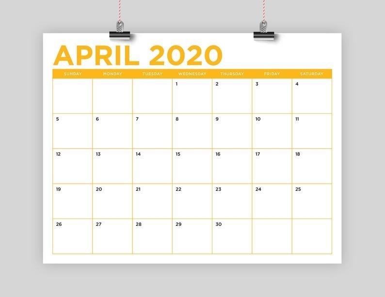 Sale 8.5 X 11 Inch Color 2020 Calendar Template Instant   Etsy