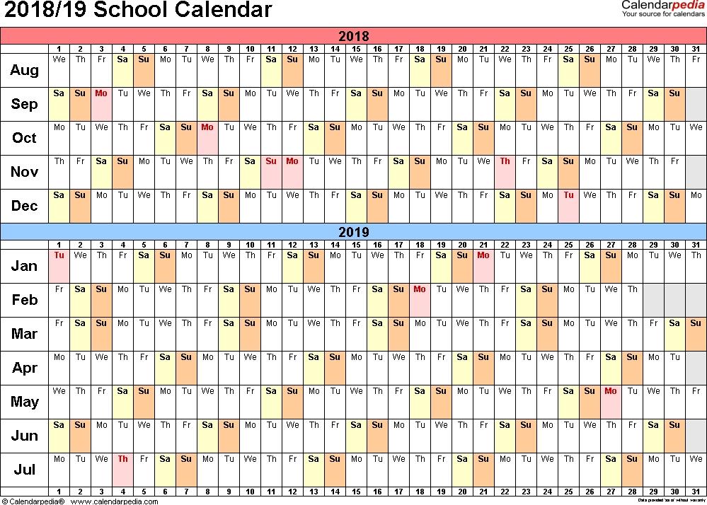 School Calendars 2018/2019 - Free Printable Pdf Templates