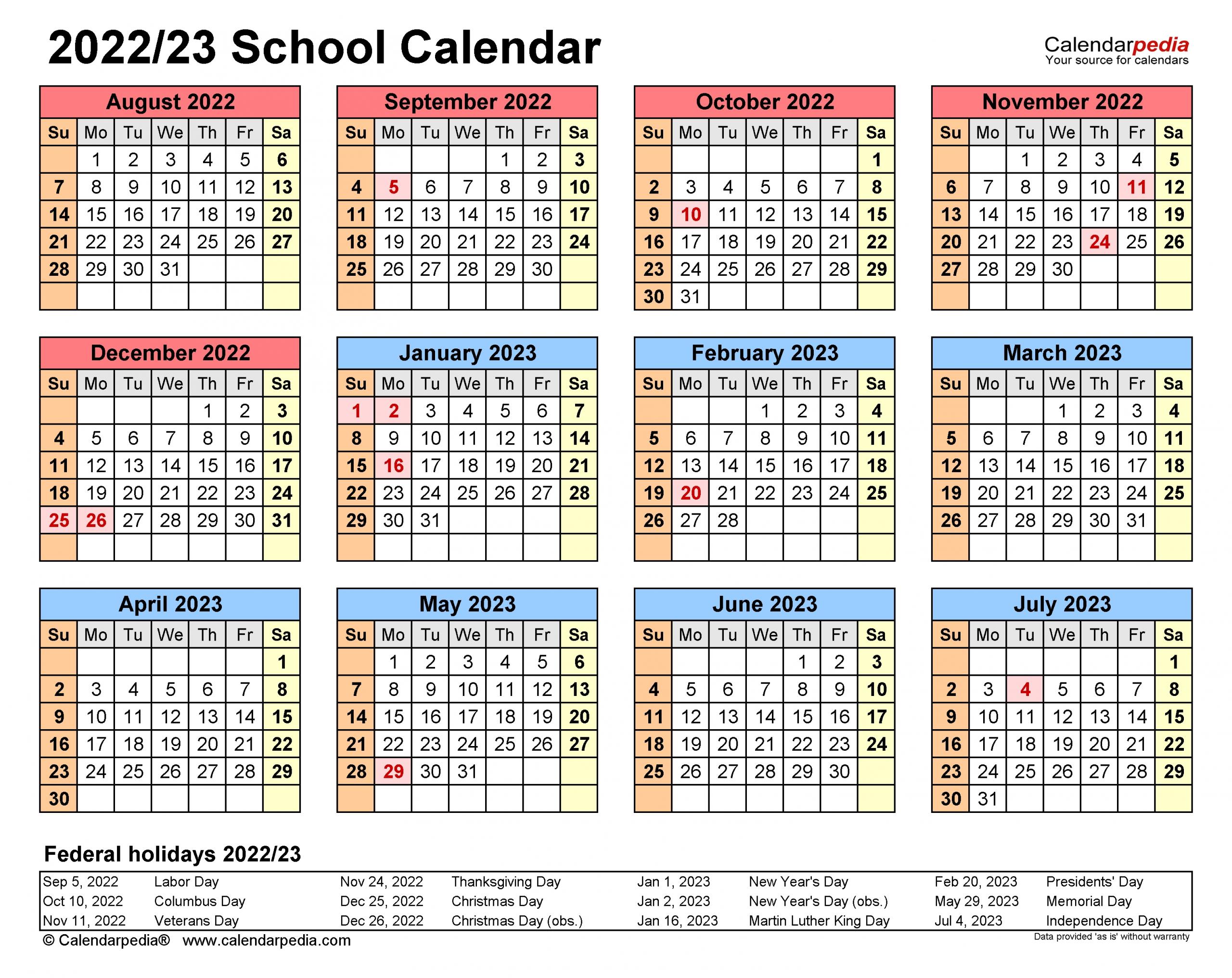 School Calendars 2022/2023 - Free Printable Excel Templates