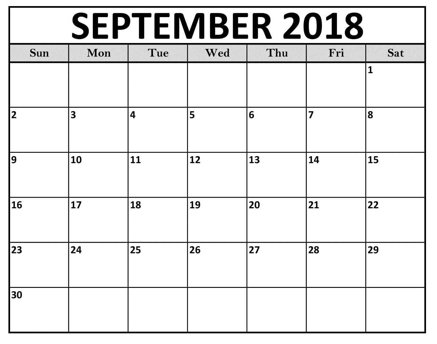 September 2018 Pdf Waterproof Calendar   Calendar Download