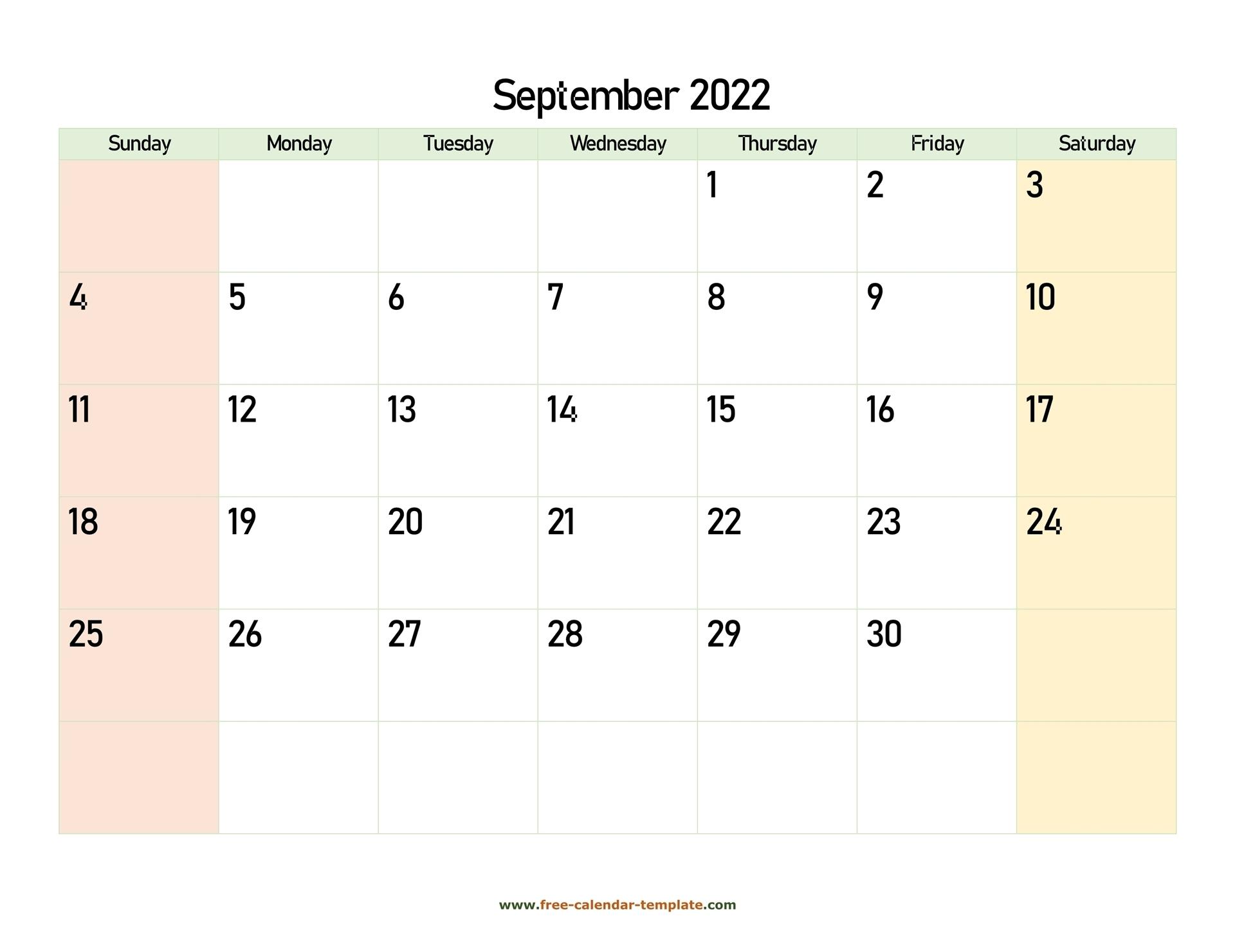 September 2022 Free Calendar Tempplate   Free-Calendar-Template