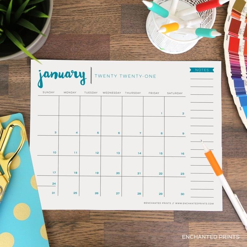 Simple 2021 Printable Calendar 12 Month Calendar Grid   Etsy