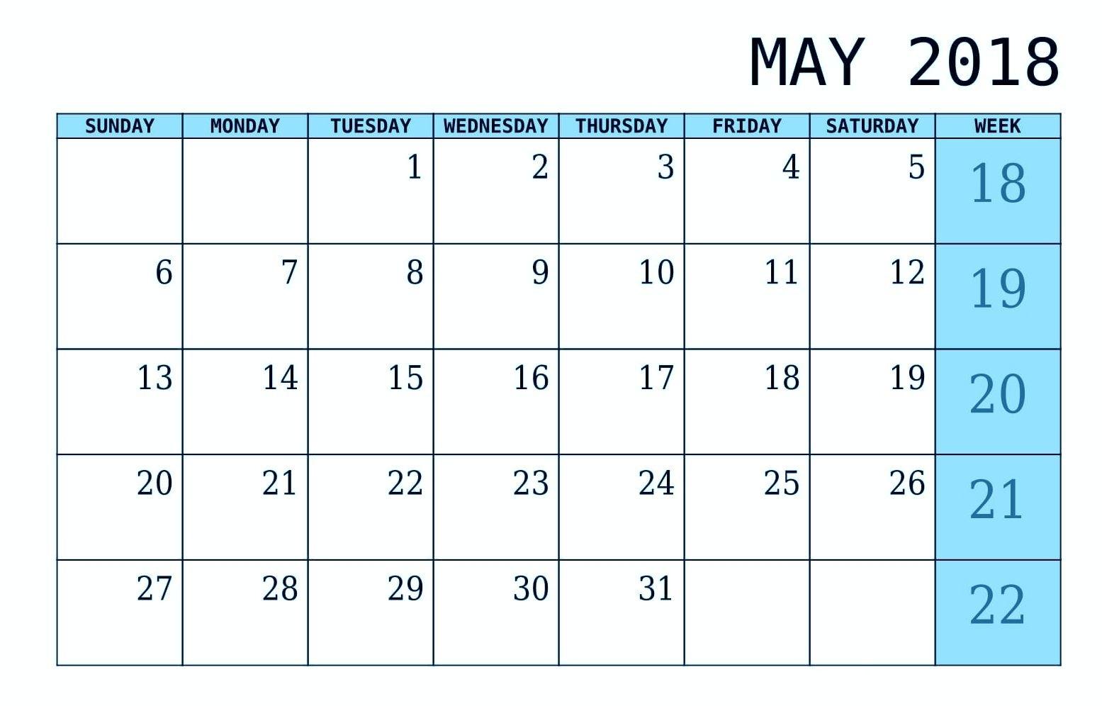 Simple May 2018 Waterproof Calendar   Calendar Printables, Calendar, Periodic Table