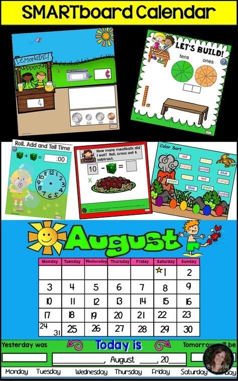 Smartboard Calendar Fun - 12 Months Plus Common Core Activities (With Images) | Common Core