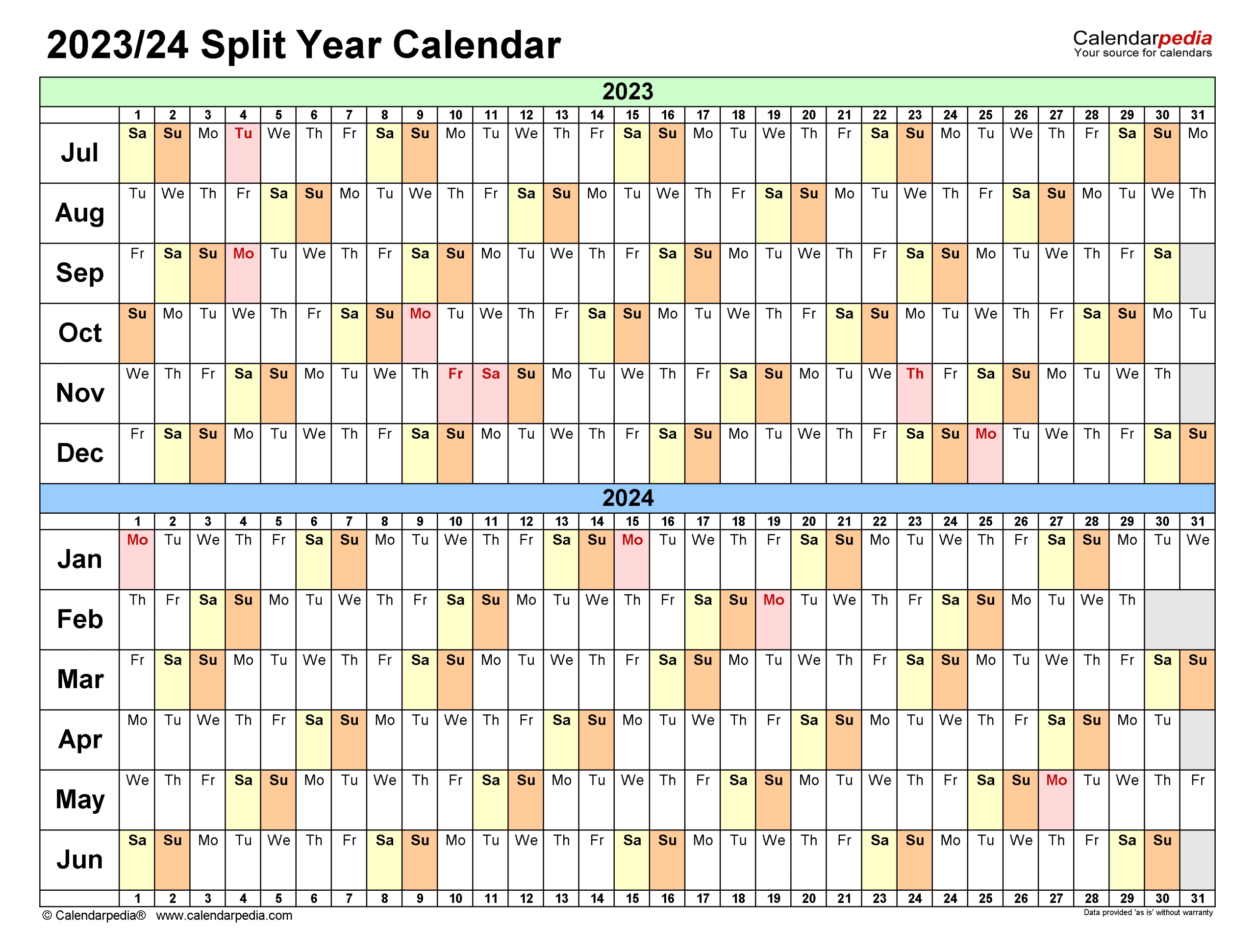 Split Year Calendars 2023/2024 (July To June) - Excel Templates