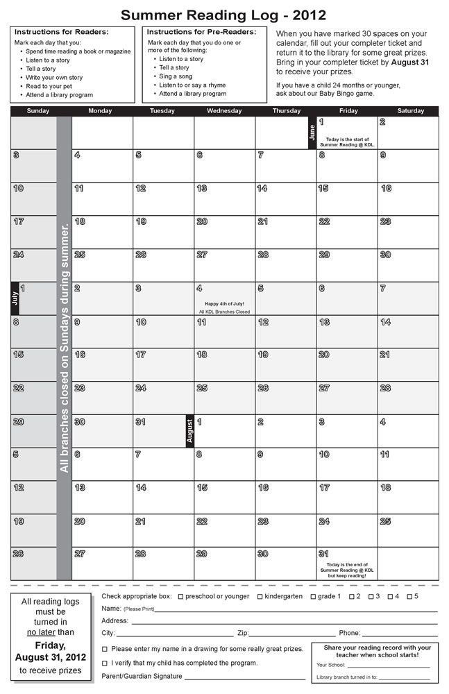 Summer Reading Log -- Mark The Calendar For Each Day That You Read Or Do One Of The Suggested