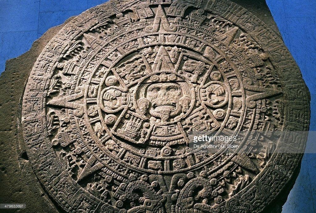 Sun Stone Or Aztec Calendar Stone, Found In Tenochtitlan In 1789, | Aztec Calendar, Stone