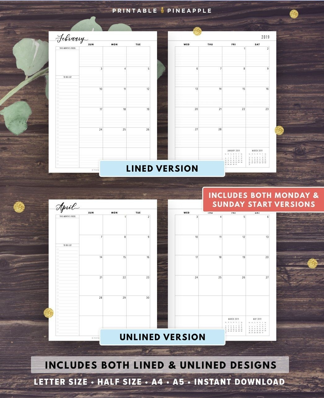 Take Free Half Page Customizable Calendar Printable | Calendar Printables Free Blank