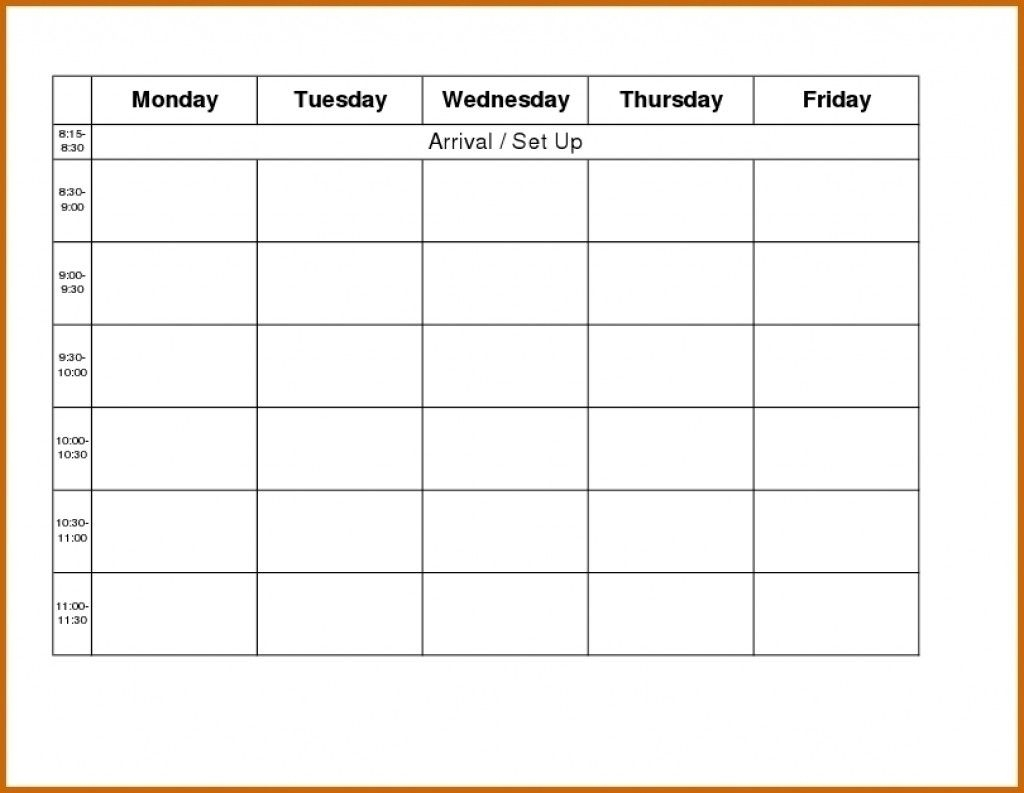 Take Template For Monday Through Friday School Schedule   Weekly Calendar, Blank Weekly Calendar