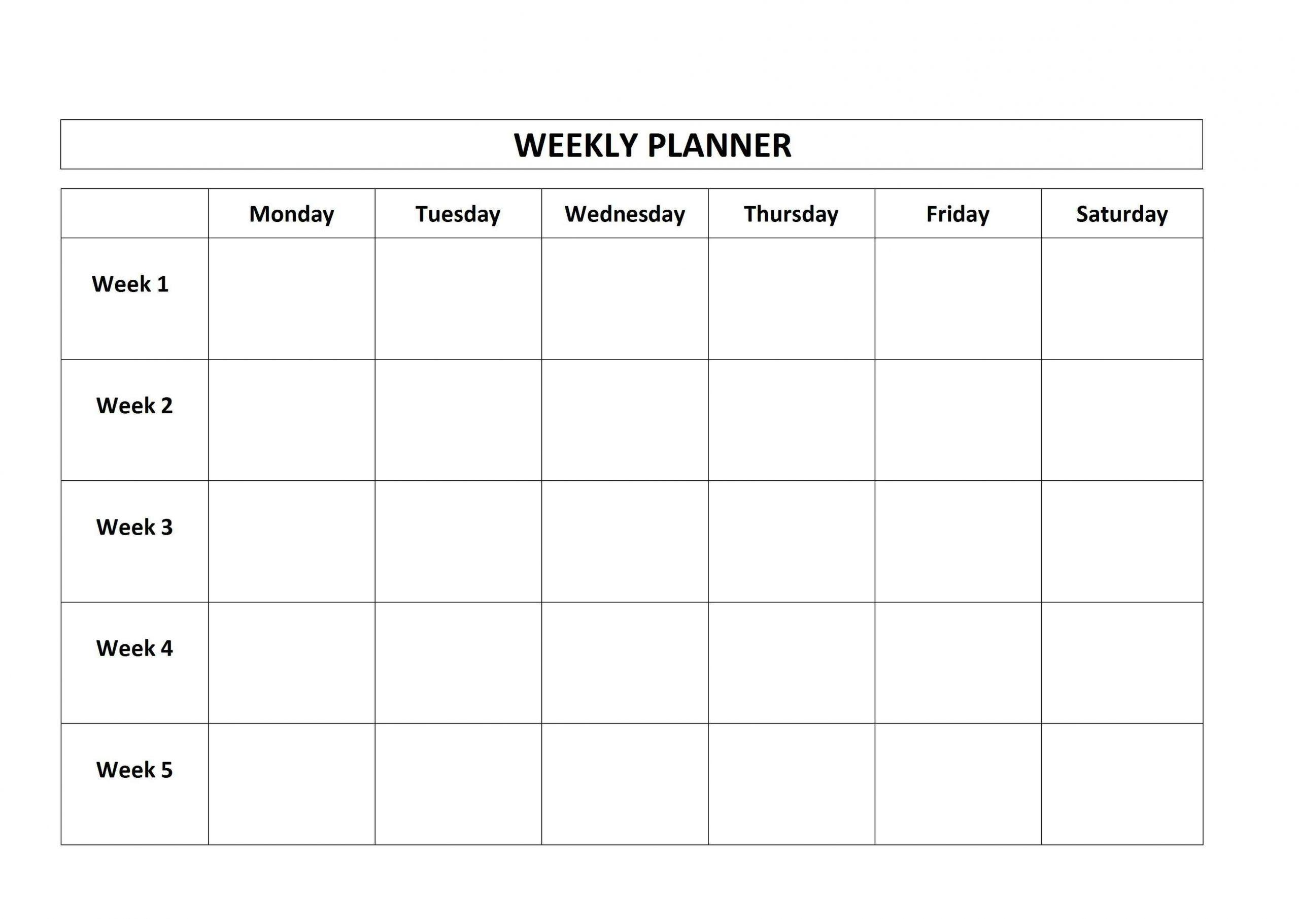 Template Monday To Friday   Calendar Template Printable