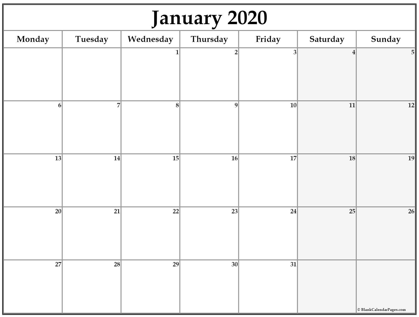 The Free Printable Monday Thru Sunday Calendars | Get Your Calendar Printable