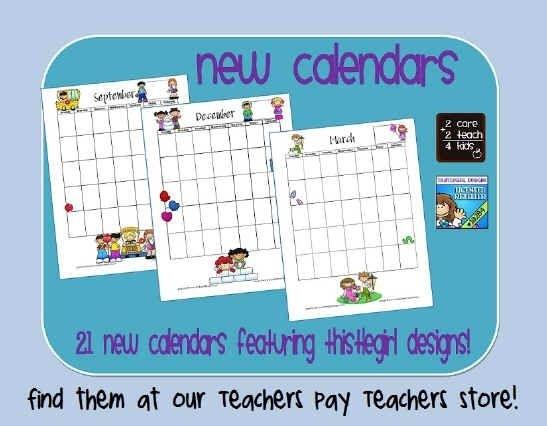 The Teacher'S Desk- Printable Calendars- 2Care2Teach4Kids | Printable Lesson Plans, School