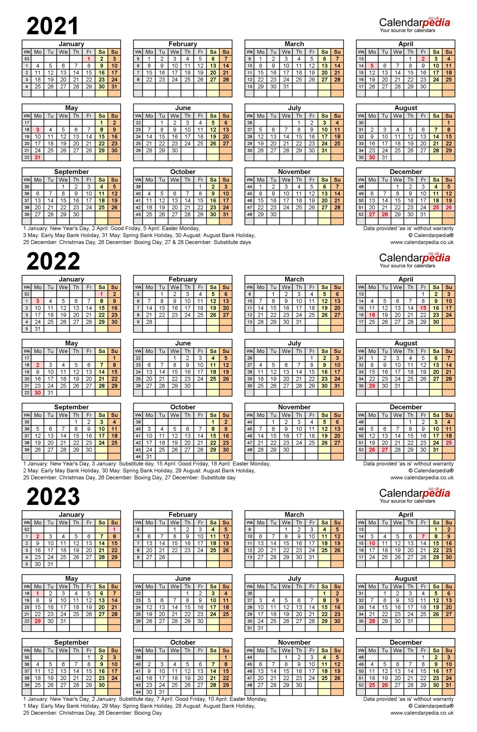 Three Year Printable Calendar 2021 To 2023 | Calendar Printables Free Blank