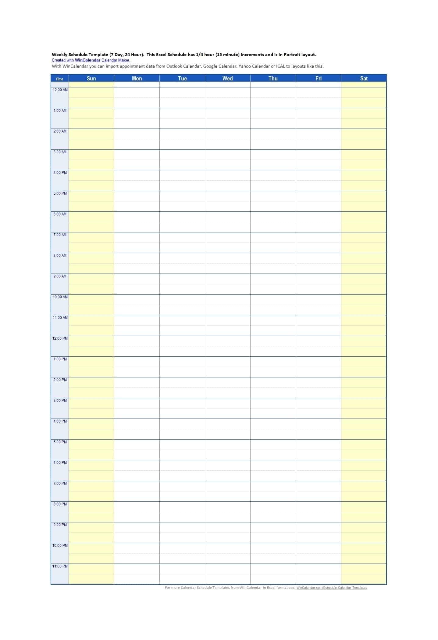 Time Slot Template Schedule Excel - Calendar Inspiration Design