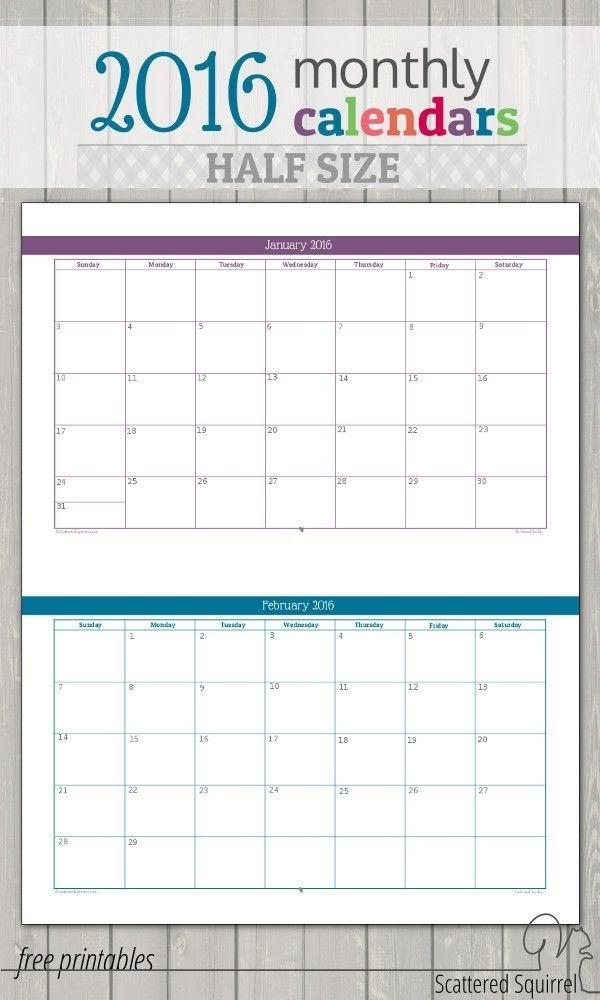Update Half-Size 2016 Monthly Calendars | Printable Planner, Printables, Calendar