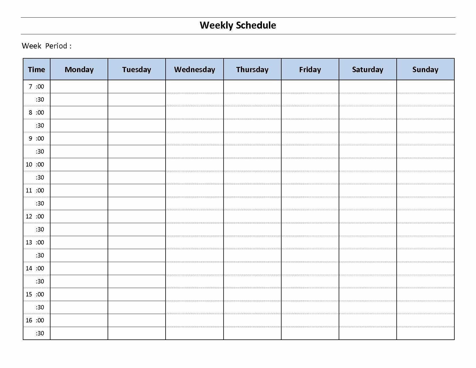 Week Planner Template Word Elegant 7 Day Weekly Planner Template Printable   Weekly Schedule