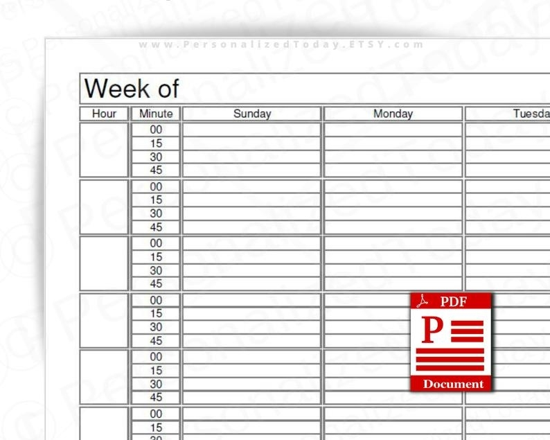 Weekly 15 Minute Time Increment Planner Fillable Editable And | Etsy