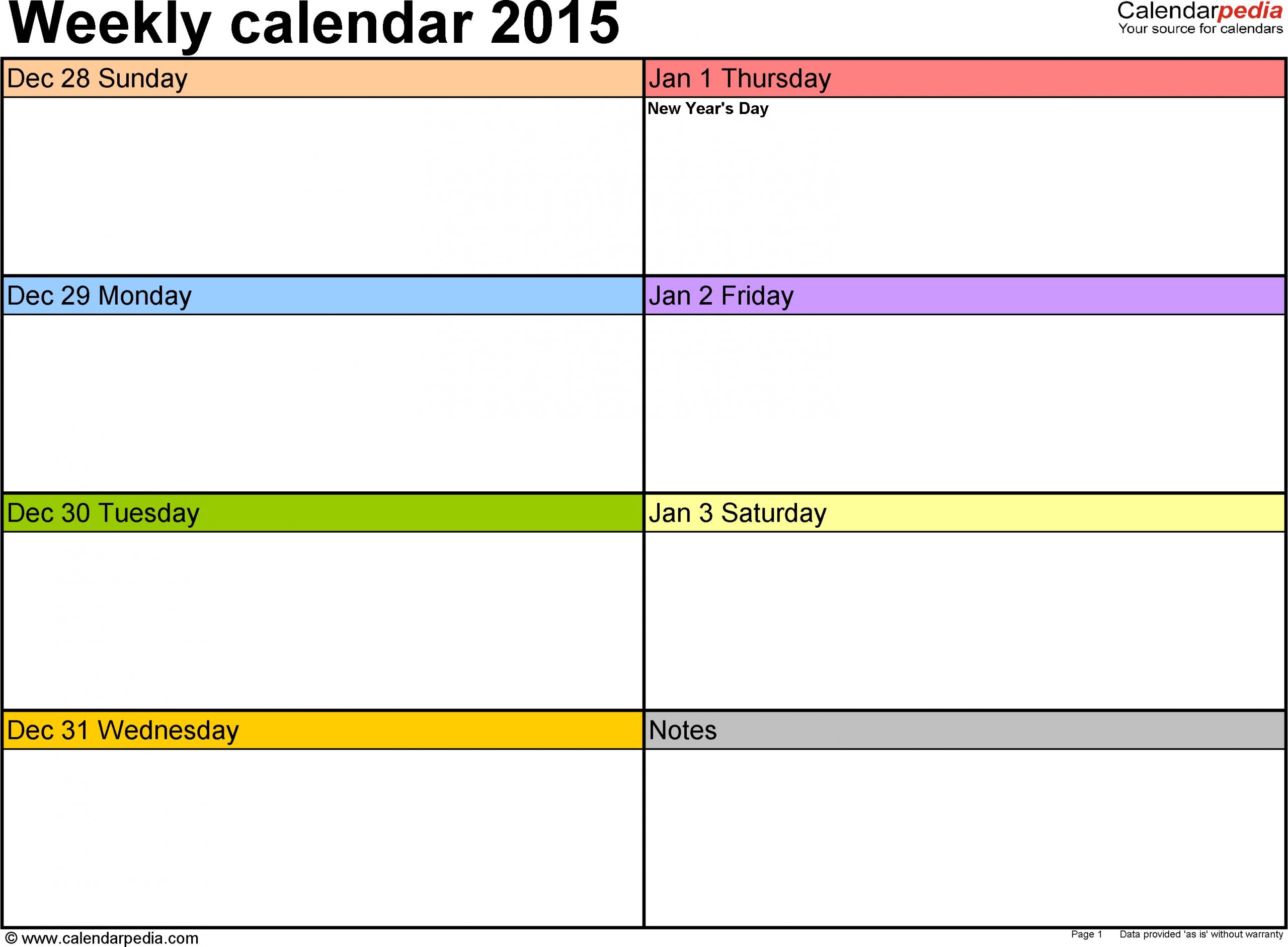 Weekly Calendar 2015 For Excel - 12 Free Printable Templates   Weekly Calendar Template, Weekly