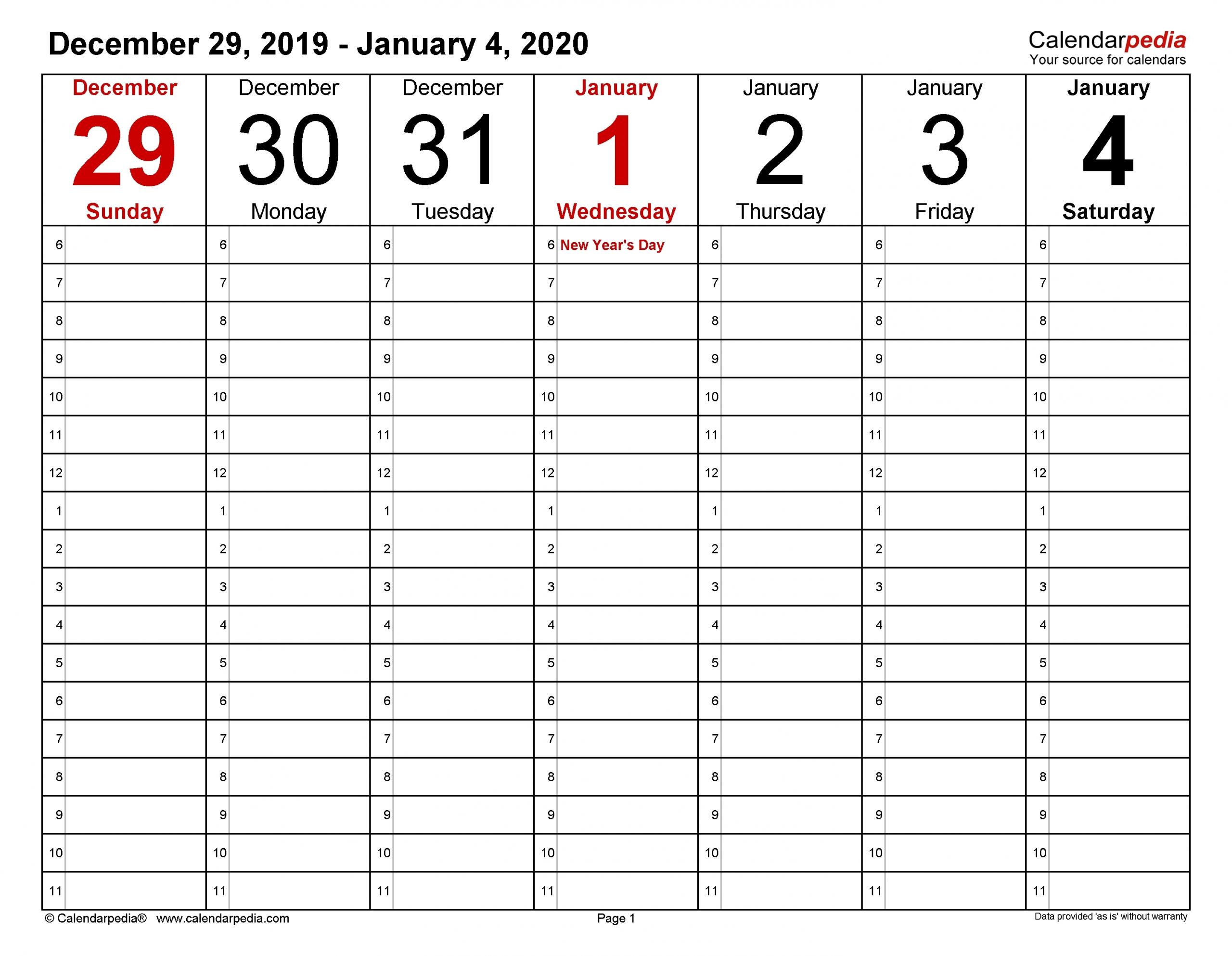 Weekly Calendar 2020 - Template Calendar Design
