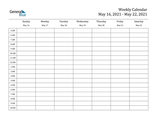 Weekly Calendar - May 16, 2021 To May 22, 2021 - (Pdf, Word, Excel)