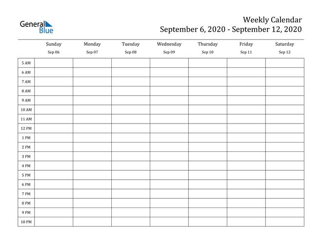 Weekly Calendar - September 6, 2020 To September 12, 2020 - (Pdf, Word, Excel)