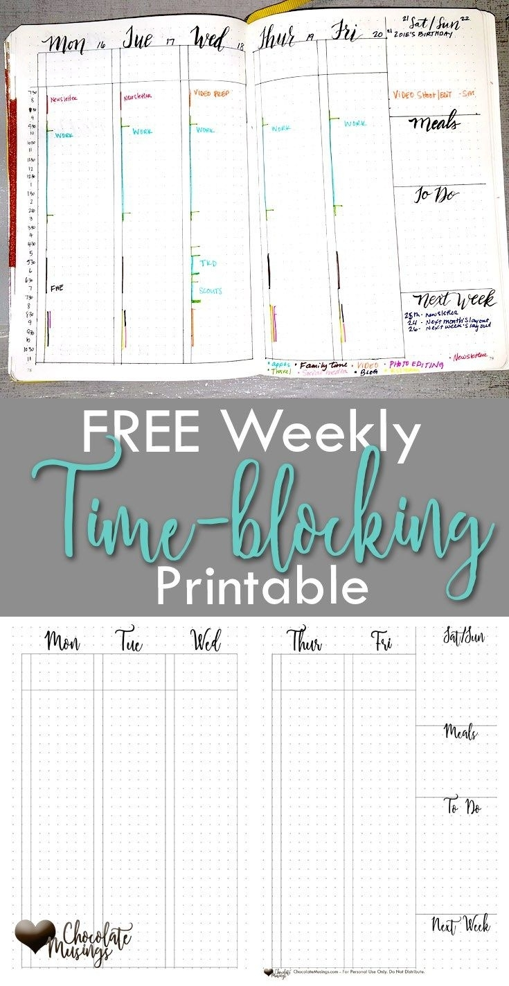 Weekly Time Blocking Set-Up {With Video}   Chocolate Musings   Bullet Journal Student, Time