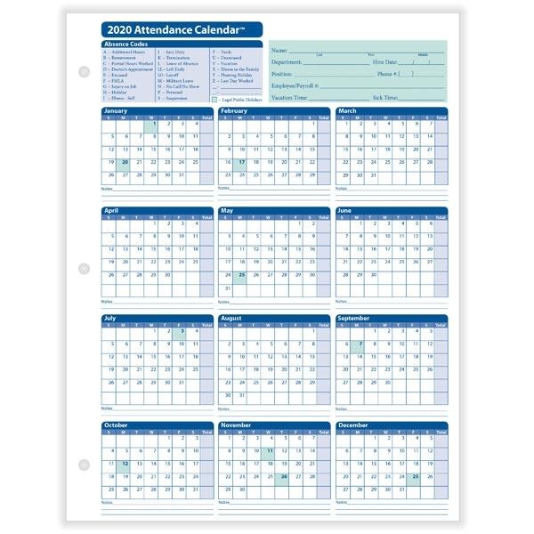 Yearly Employee Attendance Calendar   Yearly Calendar   Hrdirect
